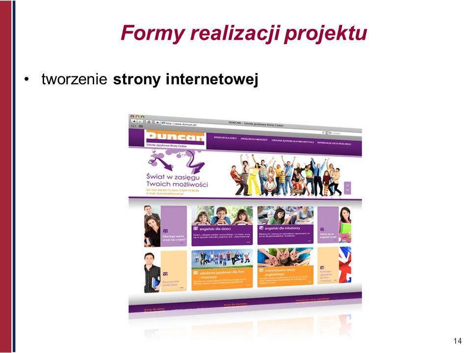 14 Formy realizacji projektu tworzenie strony internetowej