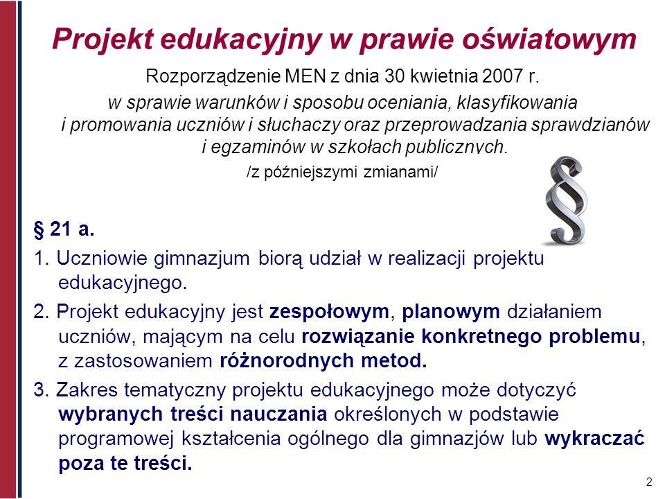 2 Projekt edukacyjny w prawie oświatowym Rozporządzenie MEN z dnia 30 kwietnia 2007 r. w sprawie warunków i sposobu oceniania, klasyfikowania i promow