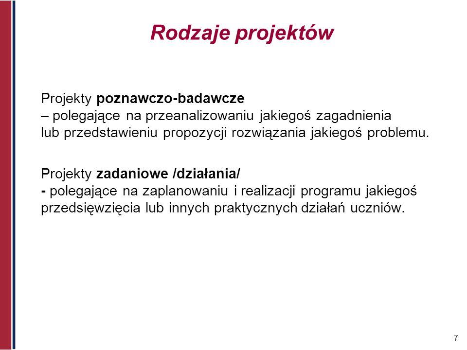 7 Rodzaje projektów Projekty poznawczo-badawcze – polegające na przeanalizowaniu jakiegoś zagadnienia lub przedstawieniu propozycji rozwiązania jakieg