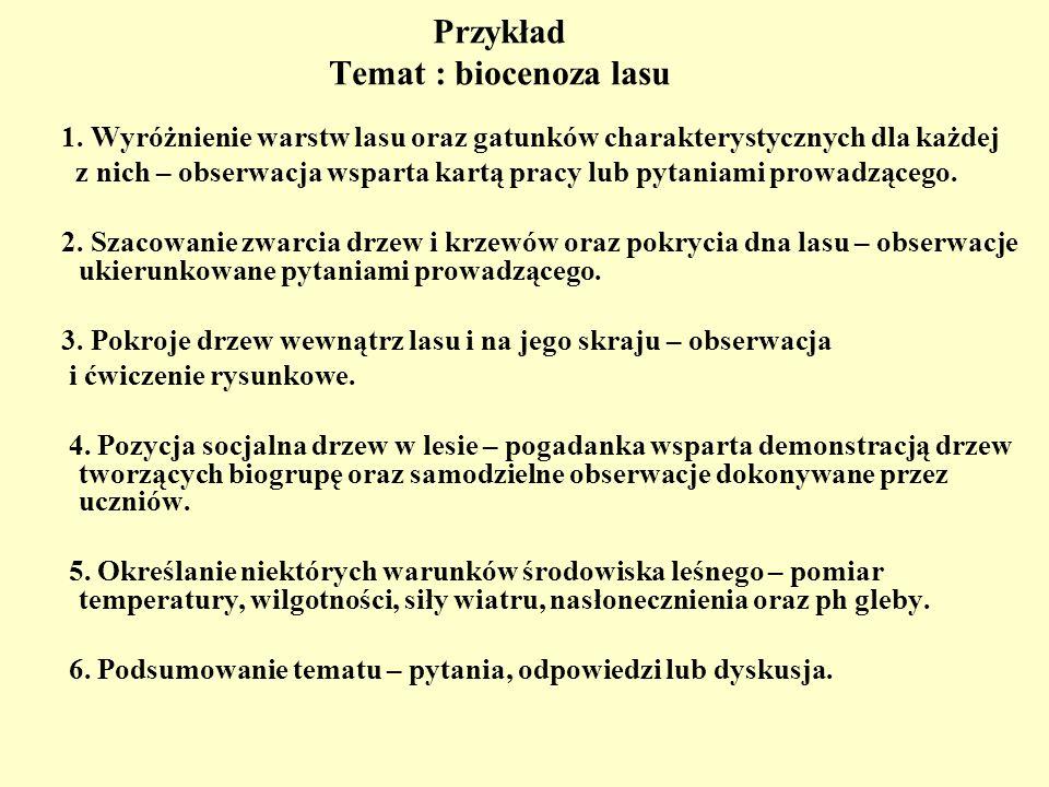 Przykład Temat : biocenoza lasu 1. Wyróżnienie warstw lasu oraz gatunków charakterystycznych dla każdej z nich – obserwacja wsparta kartą pracy lub py