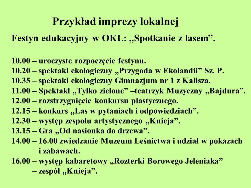 Przykład imprezy lokalnej Festyn edukacyjny w OKL: Spotkanie z lasem. 10.00 – uroczyste rozpoczęcie festynu. 10.20 – spektakl ekologiczny Przygoda w E