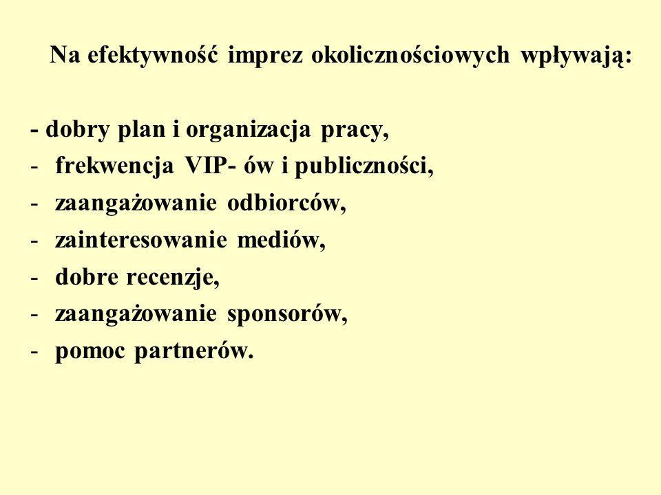 Na efektywność imprez okolicznościowych wpływają: - dobry plan i organizacja pracy, -frekwencja VIP- ów i publiczności, -zaangażowanie odbiorców, -zai