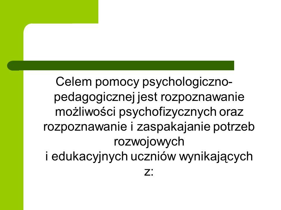 Celem pomocy psychologiczno- pedagogicznej jest rozpoznawanie możliwości psychofizycznych oraz rozpoznawanie i zaspakajanie potrzeb rozwojowych i eduk