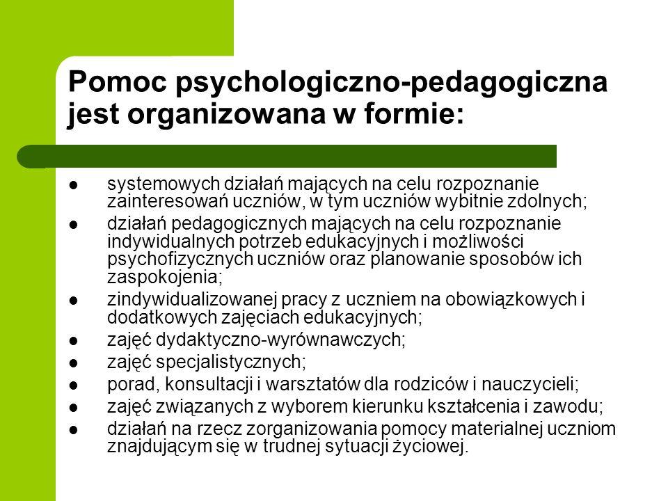 Pomoc psychologiczno-pedagogiczna jest organizowana w formie: systemowych działań mających na celu rozpoznanie zainteresowań uczniów, w tym uczniów wy