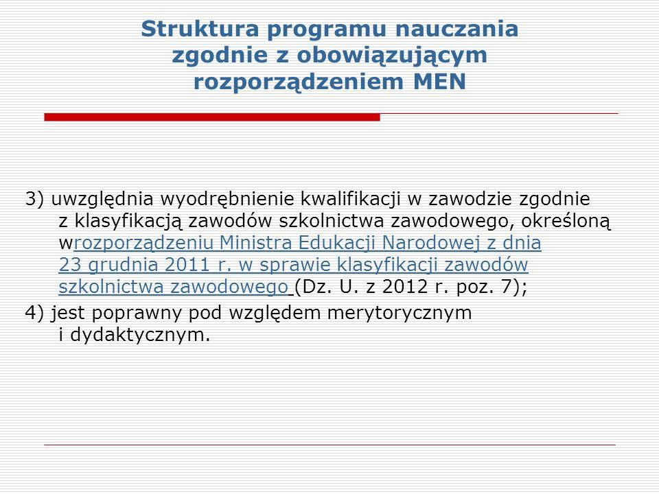 Struktura programu nauczania zgodnie z obowiązującym rozporządzeniem MEN 3) uwzględnia wyodrębnienie kwalifikacji w zawodzie zgodnie z klasyfikacją zawodów szkolnictwa zawodowego, określoną wrozporządzeniu Ministra Edukacji Narodowej z dnia 23 grudnia 2011 r.