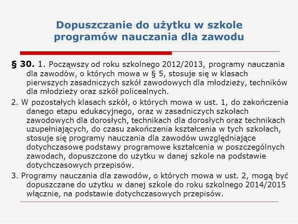 Dopuszczanie do użytku w szkole programów nauczania dla zawodu § 30.