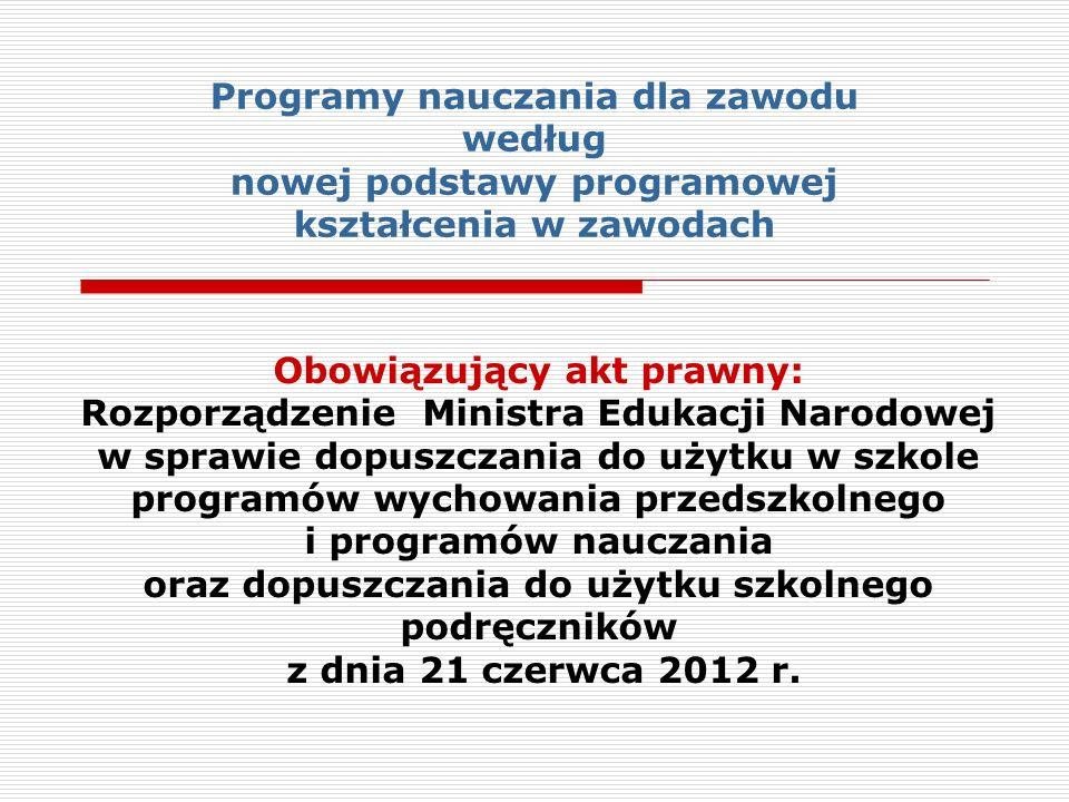 Dopuszczanie do użytku w szkole programów nauczania dla zawodu § 1.
