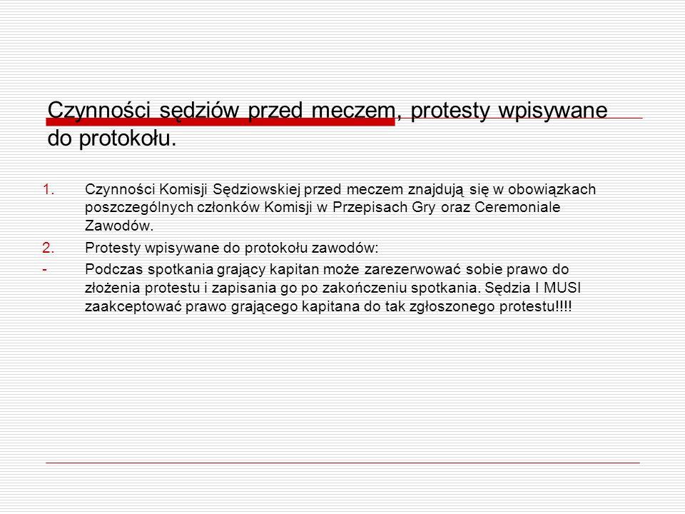 Czynności sędziów przed meczem, protesty wpisywane do protokołu.