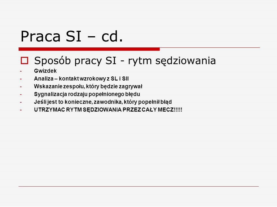 Praca SI – cd. Sposób pracy SI - rytm sędziowania -Gwizdek -Analiza – kontakt wzrokowy z SL i SII -Wskazanie zespołu, który będzie zagrywał -Sygnaliza