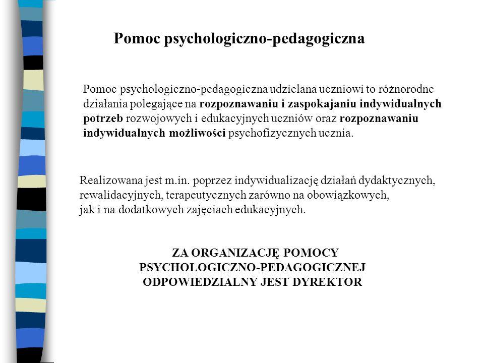 Pomoc psychologiczno-pedagogiczna Pomoc psychologiczno-pedagogiczna udzielana uczniowi to różnorodne działania polegające na rozpoznawaniu i zaspokajaniu indywidualnych potrzeb rozwojowych i edukacyjnych uczniów oraz rozpoznawaniu indywidualnych możliwości psychofizycznych ucznia.