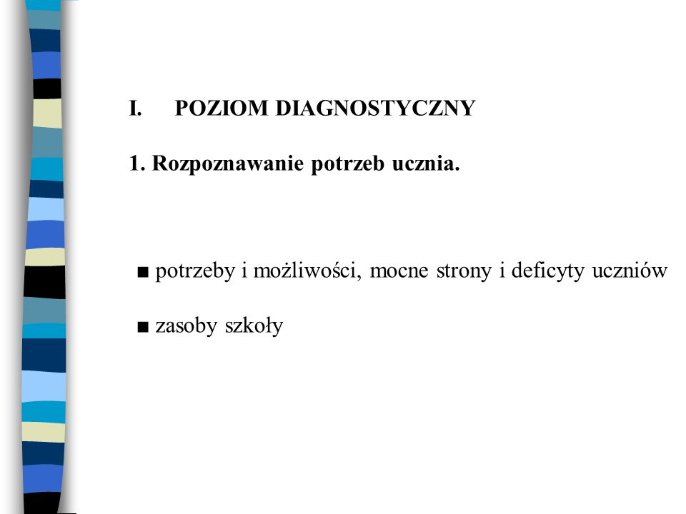 I.POZIOM DIAGNOSTYCZNY 1.Rozpoznawanie potrzeb ucznia.