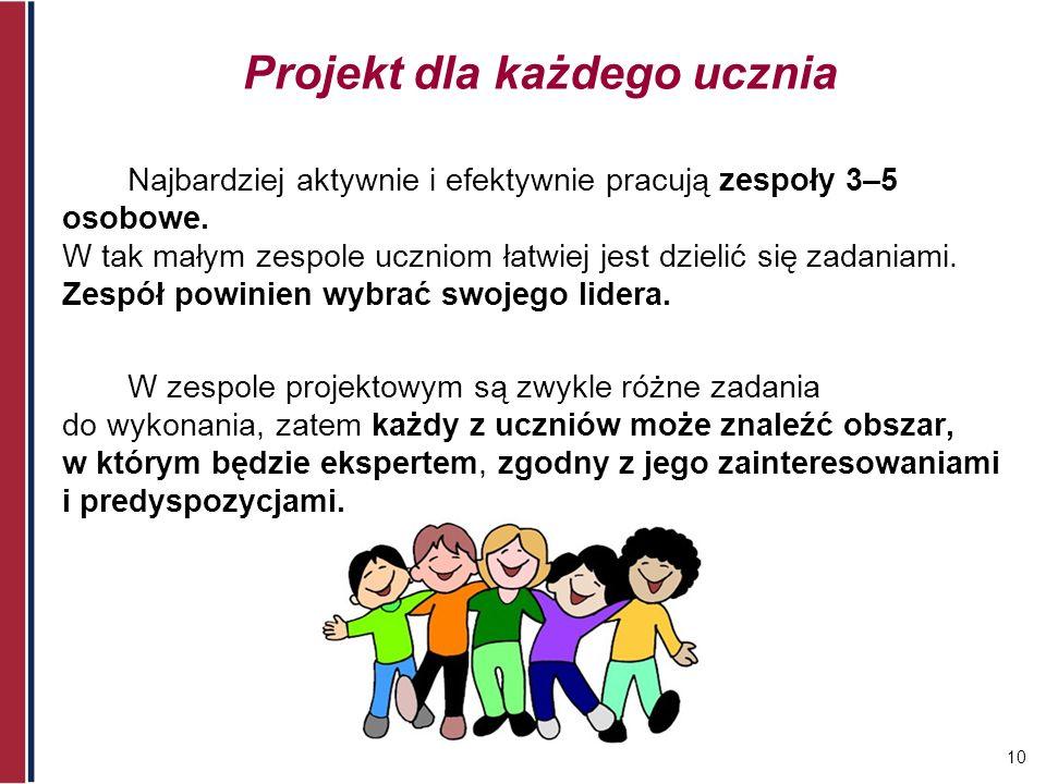 10 Projekt dla każdego ucznia Najbardziej aktywnie i efektywnie pracują zespoły 3–5 osobowe. W tak małym zespole uczniom łatwiej jest dzielić się zada