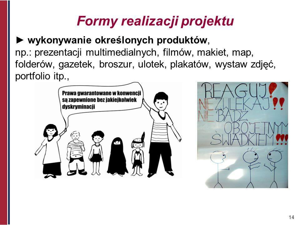 14 Formy realizacji projektu wykonywanie określonych produktów, np.: prezentacji multimedialnych, filmów, makiet, map, folderów, gazetek, broszur, ulo