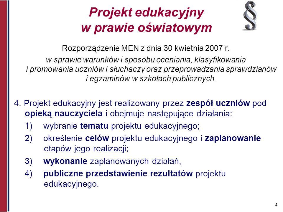 4 Projekt edukacyjny w prawie oświatowym Rozporządzenie MEN z dnia 30 kwietnia 2007 r. w sprawie warunków i sposobu oceniania, klasyfikowania i promow