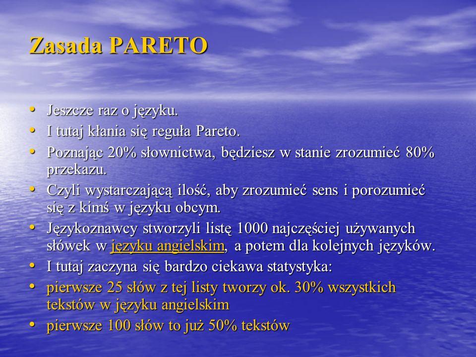 Zasada PARETO Jeszcze raz o języku. Jeszcze raz o języku. I tutaj kłania się reguła Pareto. I tutaj kłania się reguła Pareto. Poznając 20% słownictwa,