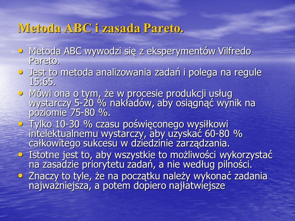 Metoda ABC i zasada Pareto. Metoda ABC wywodzi się z eksperymentów Vilfredo Pareto. Metoda ABC wywodzi się z eksperymentów Vilfredo Pareto. Jest to me