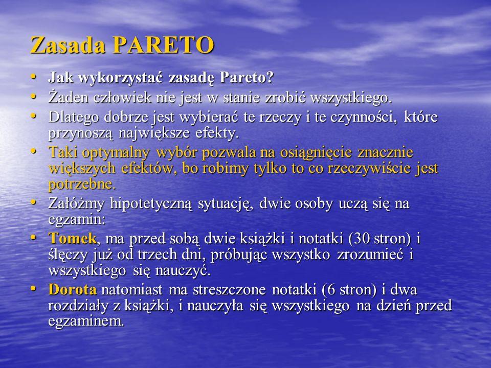 Zasada PARETO Jak wykorzystać zasadę Pareto? Jak wykorzystać zasadę Pareto? Żaden człowiek nie jest w stanie zrobić wszystkiego. Żaden człowiek nie je