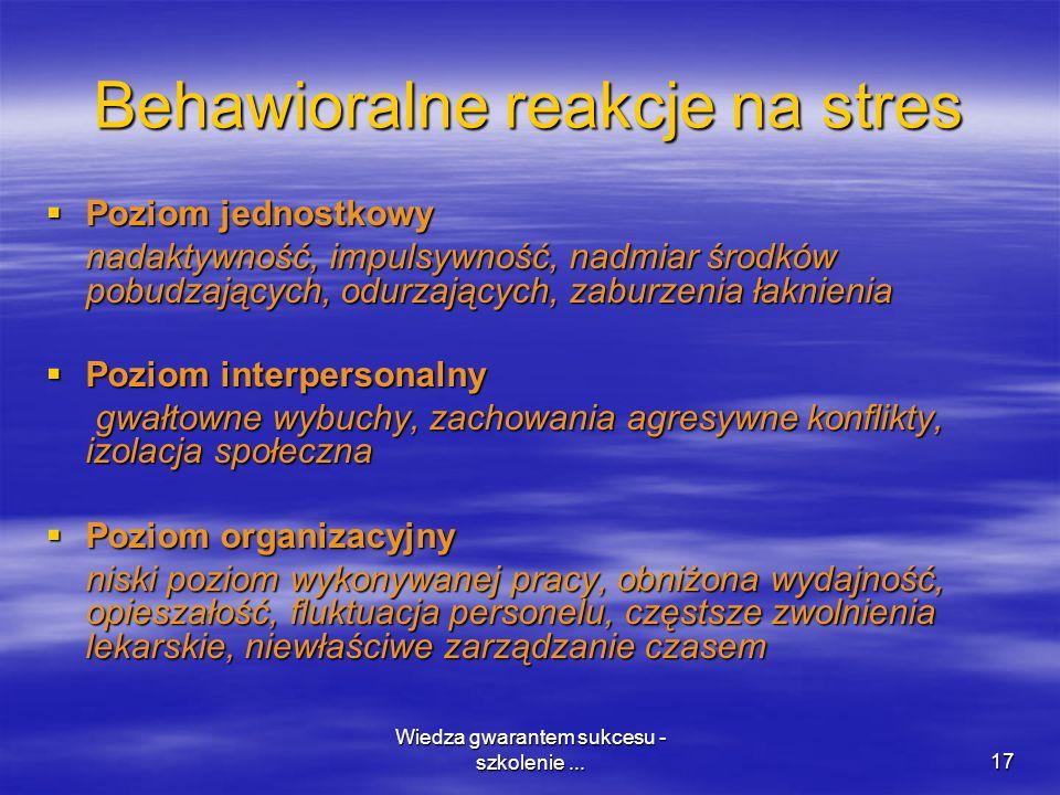Wiedza gwarantem sukcesu - szkolenie...17 Behawioralne reakcje na stres Poziom jednostkowy Poziom jednostkowy nadaktywność, impulsywność, nadmiar środ