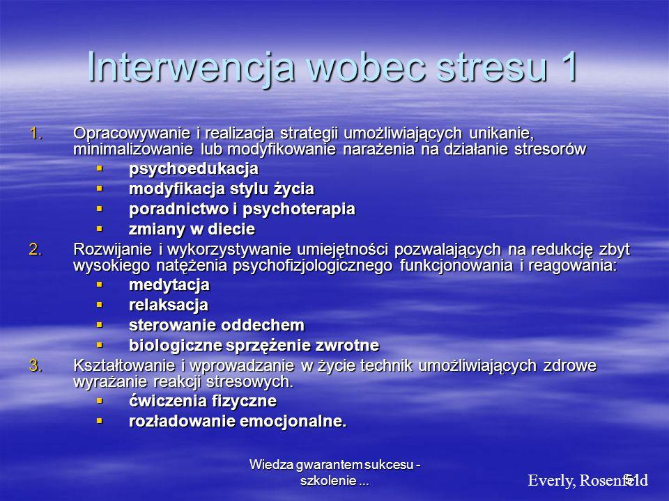 Wiedza gwarantem sukcesu - szkolenie...51 Interwencja wobec stresu 1 1.Opracowywanie i realizacja strategii umożliwiających unikanie, minimalizowanie