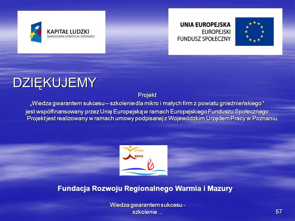Wiedza gwarantem sukcesu - szkolenie...57 DZIĘKUJEMYProjekt Wiedza gwarantem sukcesu – szkolenie dla mikro i małych firm z powiatu gnieźnieńskiego Wie