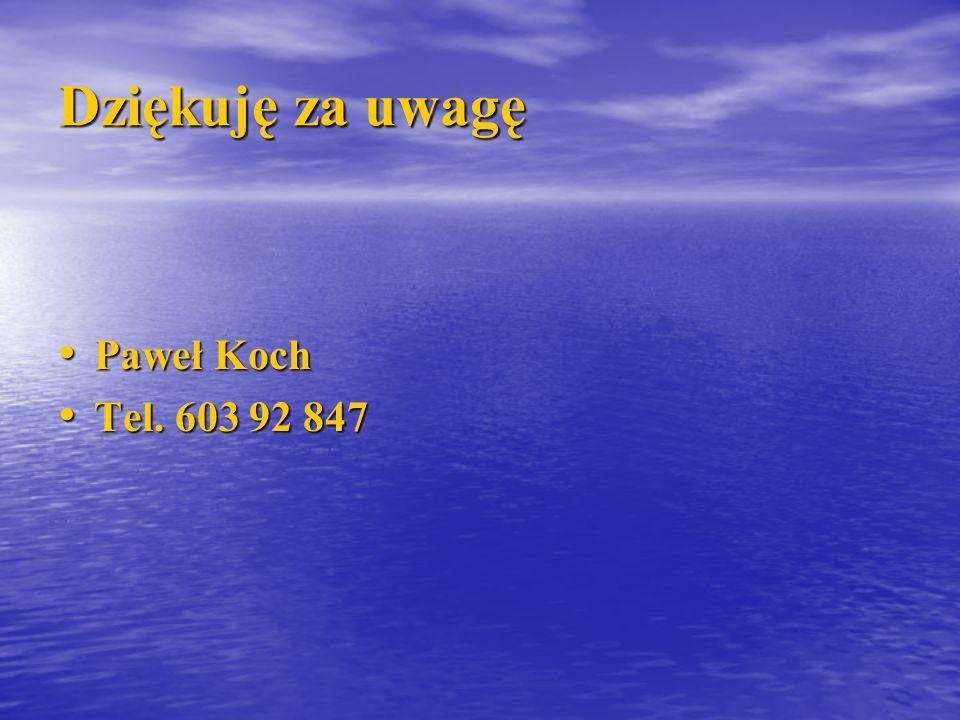 Dziękuję za uwagę Paweł Koch Paweł Koch Tel. 603 92 847 Tel. 603 92 847