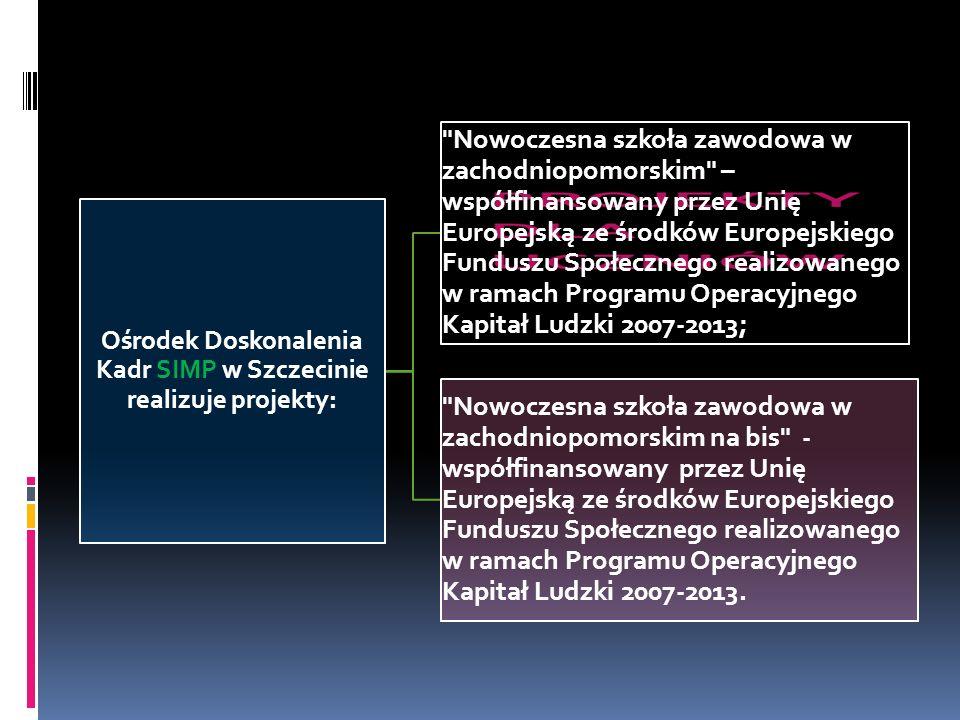Ośrodek Doskonalenia Kadr SIMP w Szczecinie realizuje projekty: