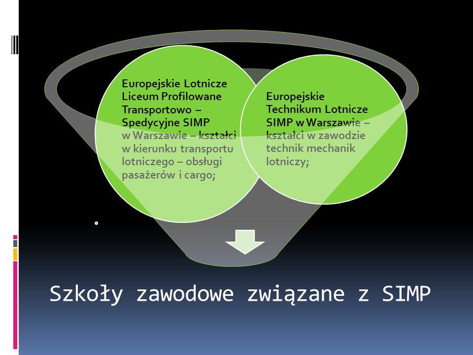 Szkoły zawodowe związane z SIMP Europejskie Lotnicze Liceum Profilowane Transportowo – Spedycyjne SIMP w Warszawie – kształci w kierunku transportu lo