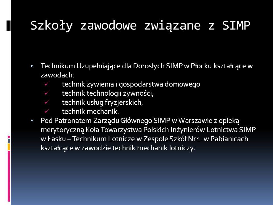Szkoły zawodowe związane z SIMP Technikum Uzupełniające dla Dorosłych SIMP w Płocku kształcące w zawodach: technik żywienia i gospodarstwa domowego te