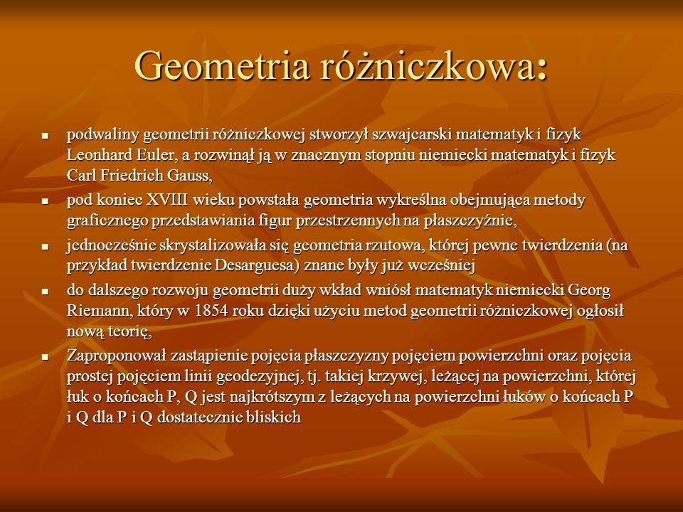 Geometria różniczkowa: podwaliny geometrii różniczkowej stworzył szwajcarski matematyk i fizyk Leonhard Euler, a rozwinął ją w znacznym stopniu niemie