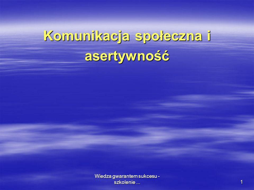 Wiedza gwarantem sukcesu - szkolenie...1 Komunikacja społeczna i asertywność