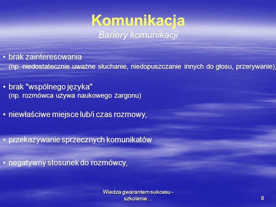Wiedza gwarantem sukcesu - szkolenie...8 Komunikacja Bariery komunikacji brak zainteresowania (np.