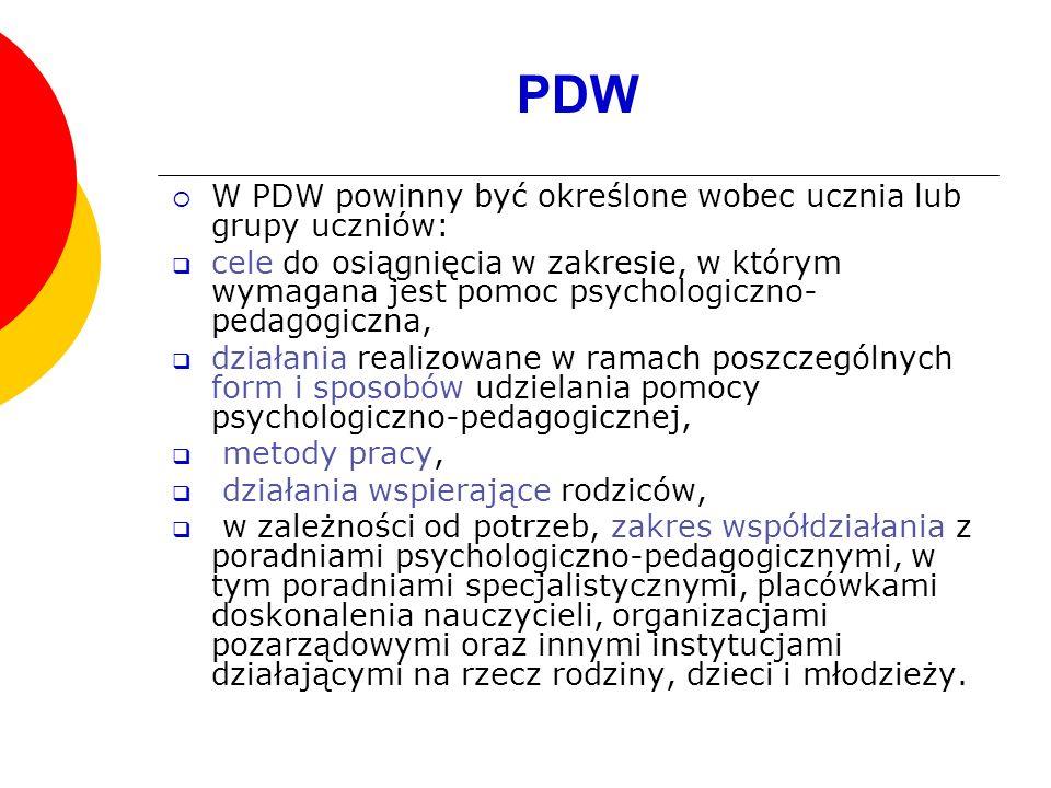 PDW W PDW powinny być określone wobec ucznia lub grupy uczniów: cele do osiągnięcia w zakresie, w którym wymagana jest pomoc psychologiczno- pedagogic