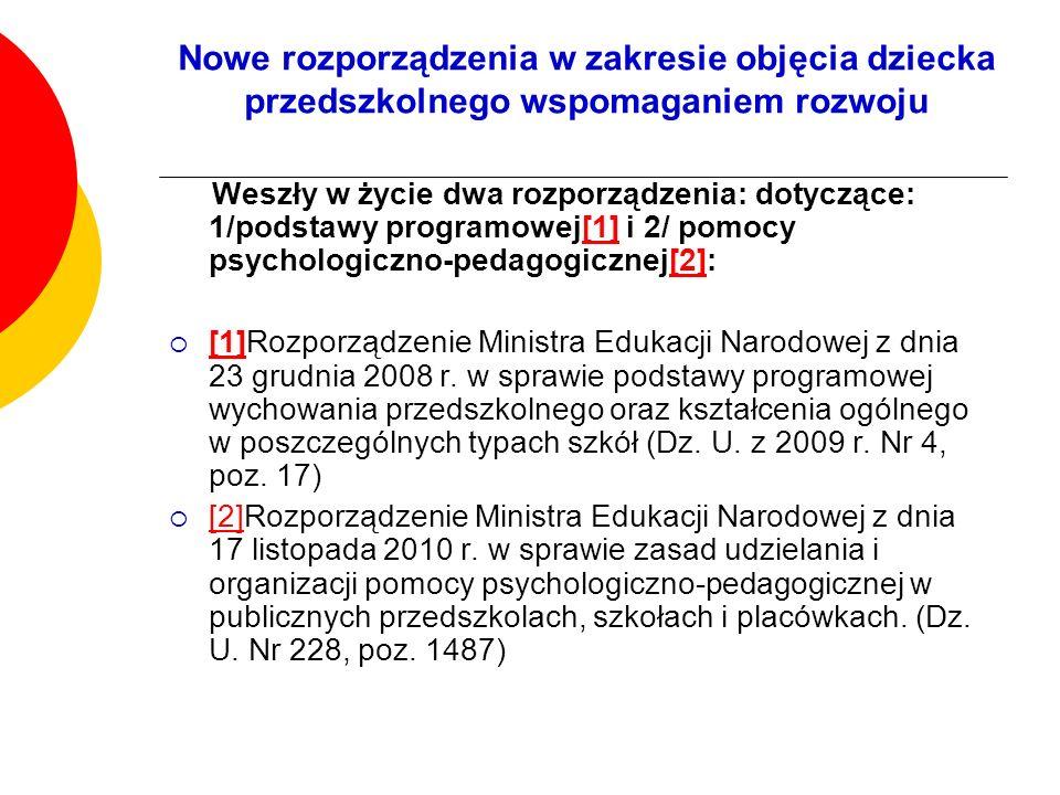 Nowe rozporządzenia w zakresie objęcia dziecka przedszkolnego wspomaganiem rozwoju Weszły w życie dwa rozporządzenia: dotyczące: 1/podstawy programowe