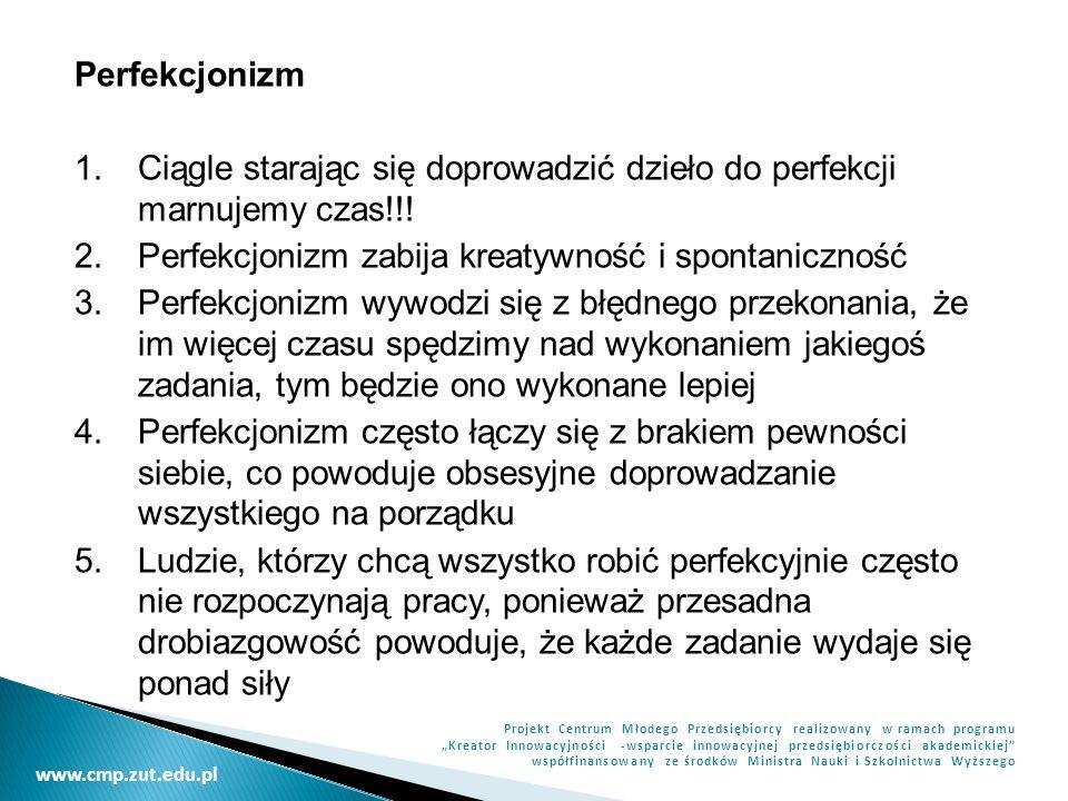 www.cmp.zut.edu.pl Projekt Centrum Młodego Przedsiębiorcy realizowany w ramach programu Kreator Innowacyjności -wsparcie innowacyjnej przedsiębiorczości akademickiej współfinansowany ze środków Ministra Nauki i Szkolnictwa Wyższego Jeżeli jesteśmy drobiazgowi, upewnijmy się czy nie jest to spowodowane brakiem pewności, który wynika ze strachu przed oceną innych lub z samokrytycyzmu.