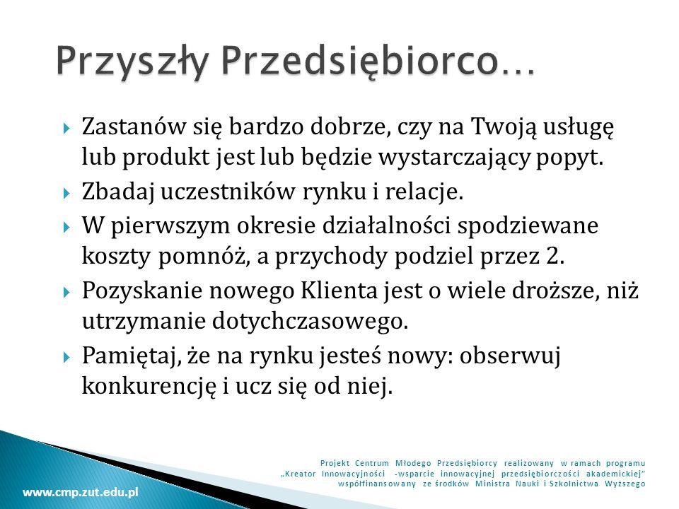www.cmp.zut.edu.pl Projekt Centrum Młodego Przedsiębiorcy realizowany w ramach programu Kreator Innowacyjności -wsparcie innowacyjnej przedsiębiorczości akademickiej współfinansowany ze środków Ministra Nauki i Szkolnictwa Wyższego Zapraszam do Pytań…
