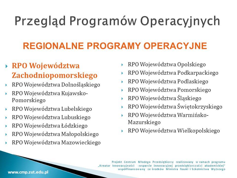 www.cmp.zut.edu.pl Projekt Centrum Młodego Przedsiębiorcy realizowany w ramach programu Kreator Innowacyjności -wsparcie innowacyjnej przedsiębiorczości akademickiej współfinansowany ze środków Ministra Nauki i Szkolnictwa Wyższego Celem głównym Programu Innowacyjna Gospodarka na lata 2007-2013 jest rozwój polskiej gospodarki w oparciu o innowacyjne przedsiębiorstwa.