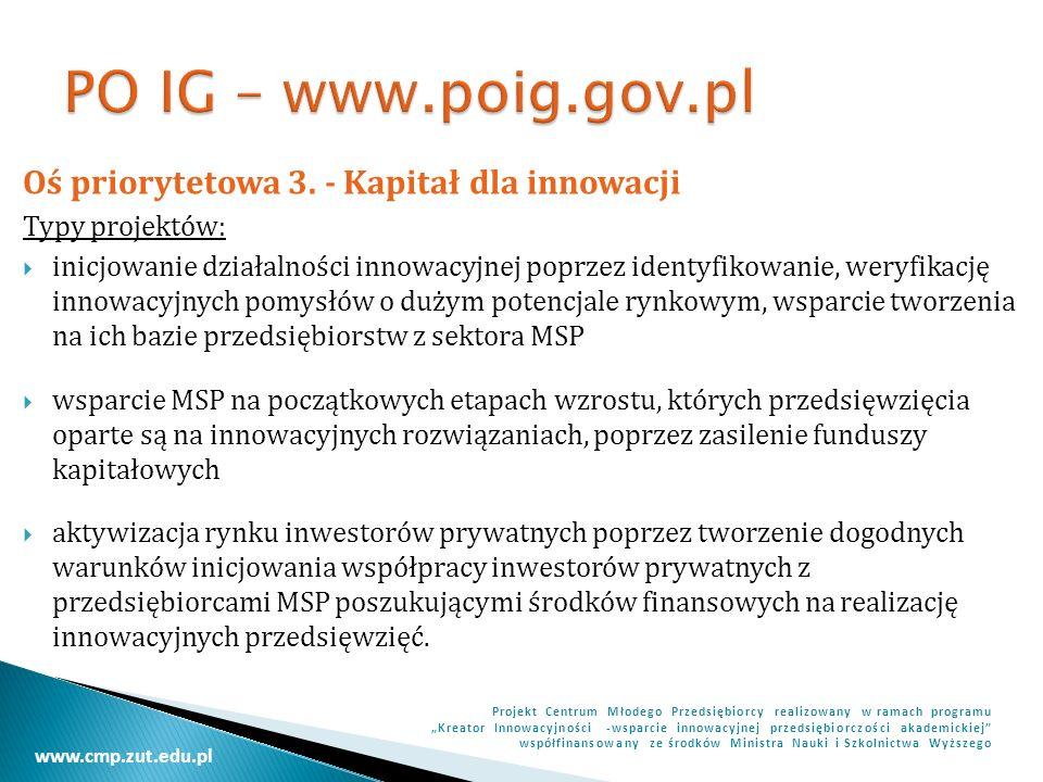 www.cmp.zut.edu.pl Projekt Centrum Młodego Przedsiębiorcy realizowany w ramach programu Kreator Innowacyjności -wsparcie innowacyjnej przedsiębiorczości akademickiej współfinansowany ze środków Ministra Nauki i Szkolnictwa Wyższego Oś priorytetowa 4.