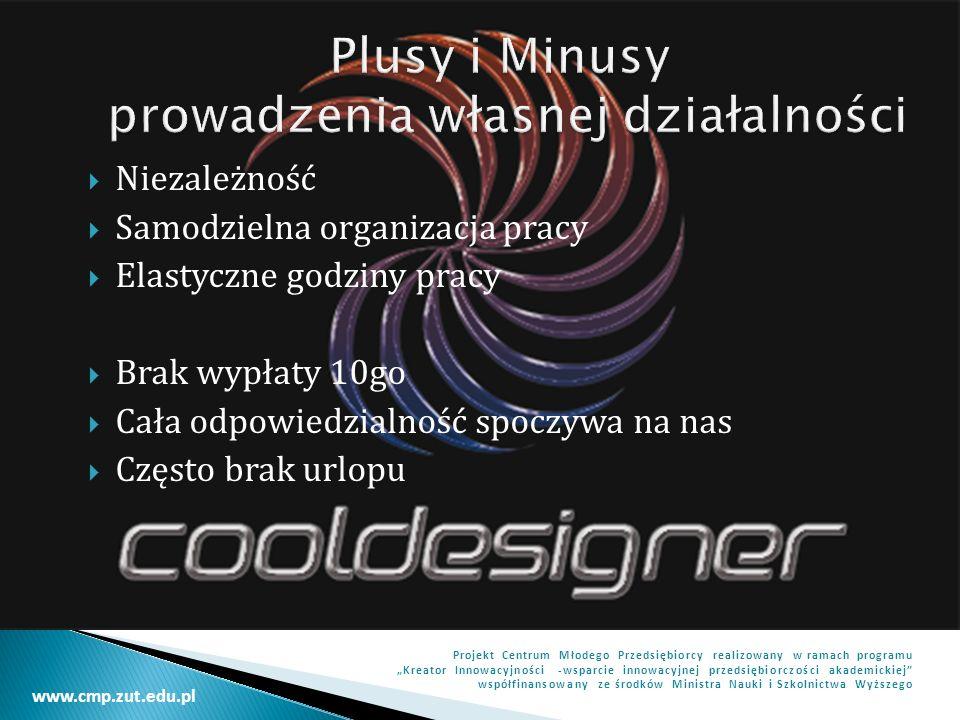 www.cmp.zut.edu.pl Projekt Centrum Młodego Przedsiębiorcy realizowany w ramach programu Kreator Innowacyjności -wsparcie innowacyjnej przedsiębiorczości akademickiej współfinansowany ze środków Ministra Nauki i Szkolnictwa Wyższego Karolina Gradowska Ul.