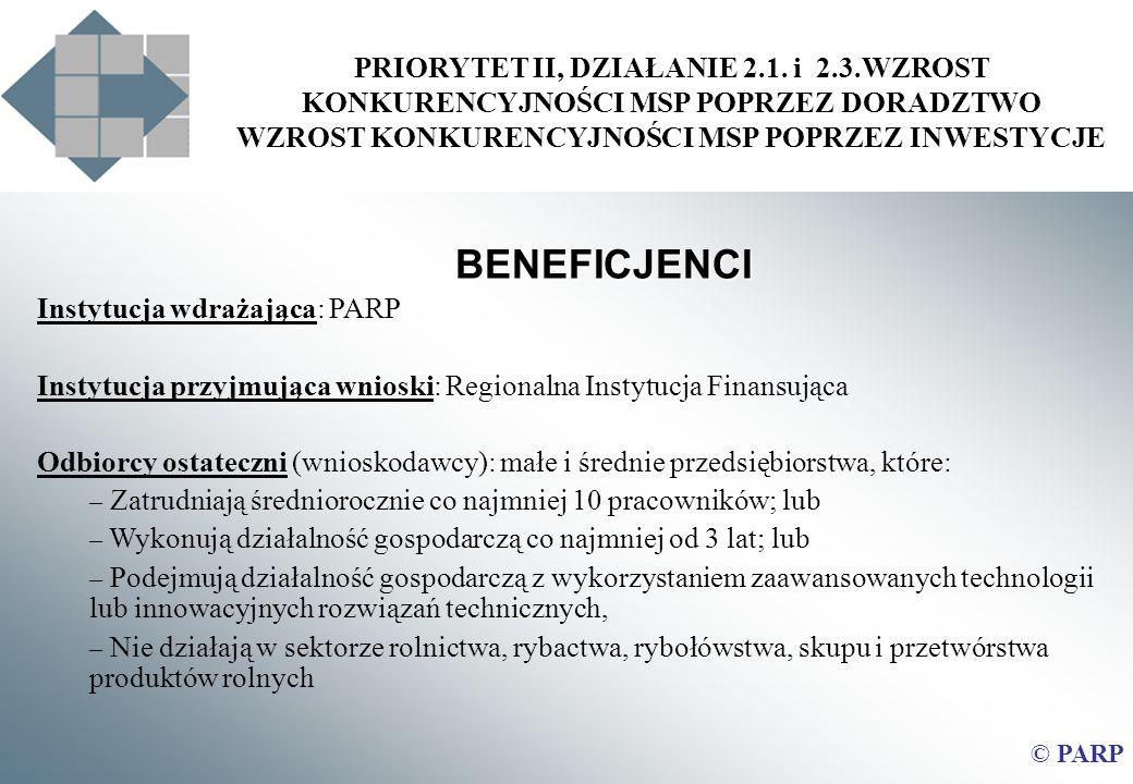 PRIORYTET II, DZIAŁANIE 2.1. i 2.3.WZROST KONKURENCYJNOŚCI MSP POPRZEZ DORADZTWO WZROST KONKURENCYJNOŚCI MSP POPRZEZ INWESTYCJE BENEFICJENCI Instytucj