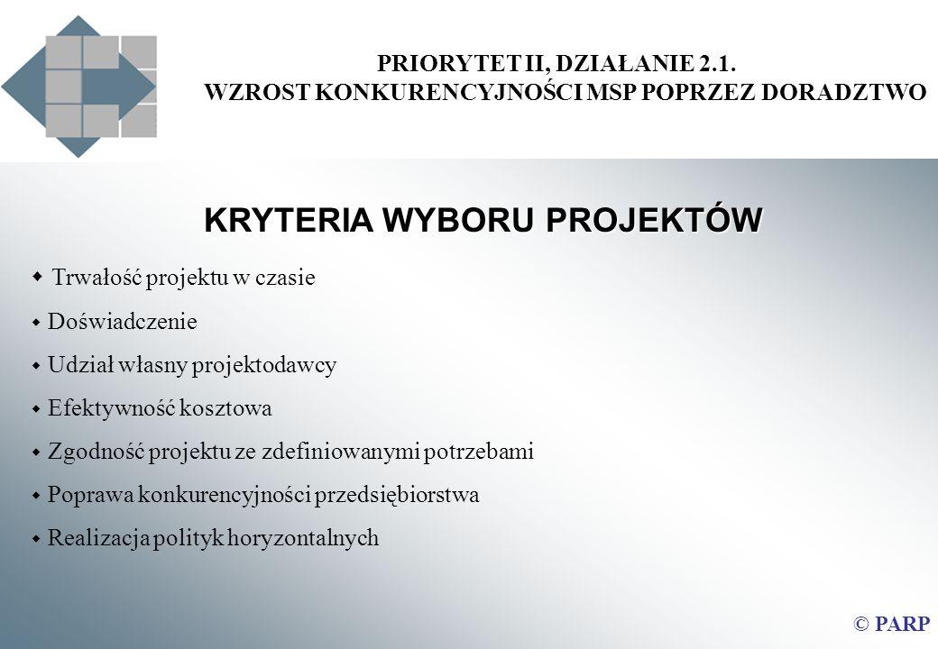 PRIORYTET II, DZIAŁANIE 2.1. WZROST KONKURENCYJNOŚCI MSP POPRZEZ DORADZTWO © PARP KRYTERIA WYBORU PROJEKTÓW Trwałość projektu w czasie Doświadczenie U