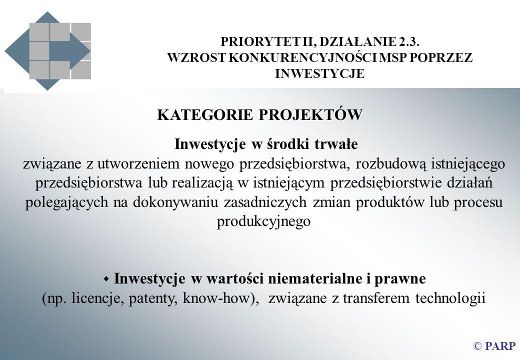 PRIORYTET II, DZIAŁANIE 2.3. WZROST KONKURENCYJNOŚCI MSP POPRZEZ INWESTYCJE © PARP KATEGORIE PROJEKTÓW Inwestycje w środki trwałe związane z utworzeni