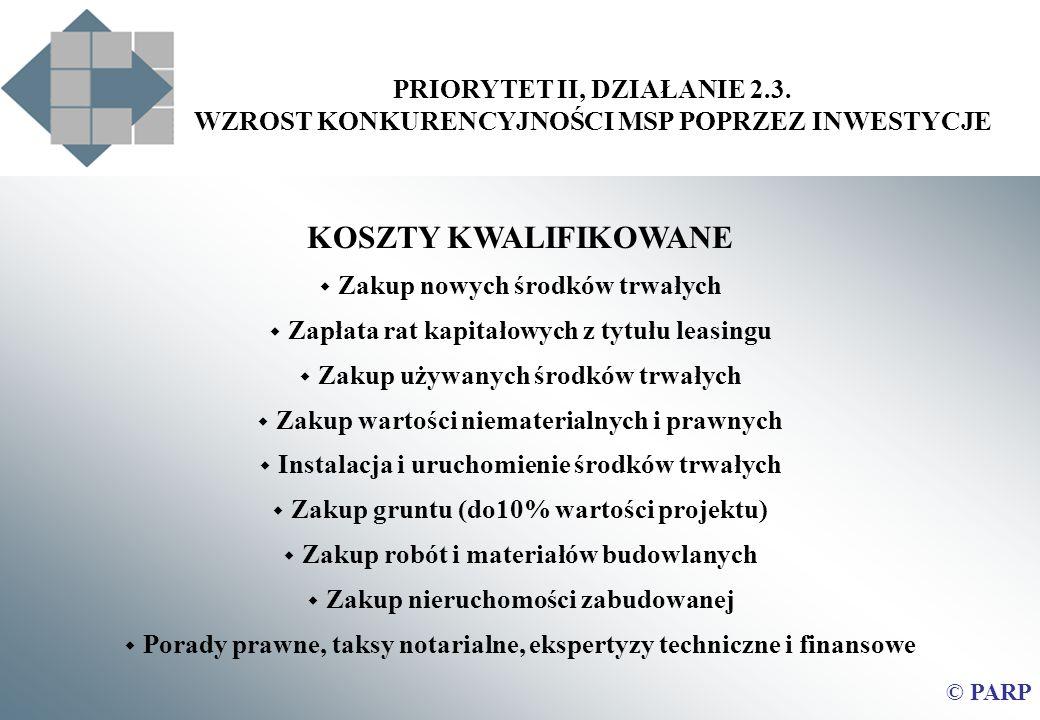 PRIORYTET II, DZIAŁANIE 2.3. WZROST KONKURENCYJNOŚCI MSP POPRZEZ INWESTYCJE © PARP KOSZTY KWALIFIKOWANE Zakup nowych środków trwałych Zapłata rat kapi