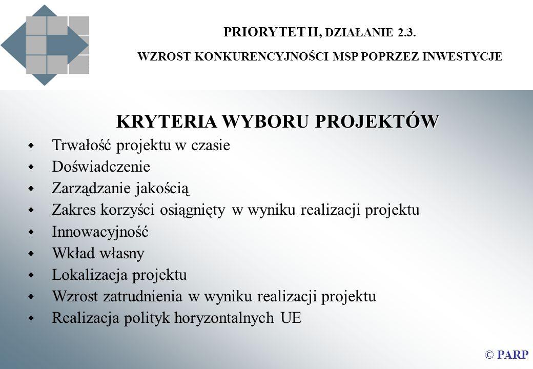 PRIORYTET II, DZIAŁANIE 2.3. WZROST KONKURENCYJNOŚCI MSP POPRZEZ INWESTYCJE KRYTERIA WYBORU PROJEKTÓW Trwałość projektu w czasie Doświadczenie Zarządz