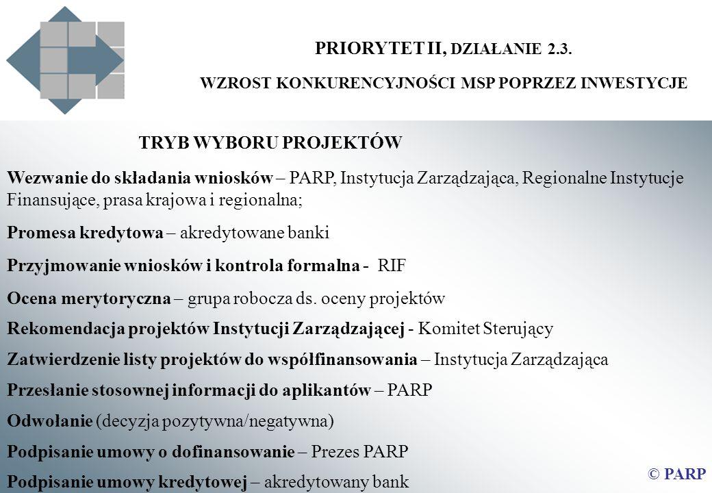 PRIORYTET II, DZIAŁANIE 2.3. WZROST KONKURENCYJNOŚCI MSP POPRZEZ INWESTYCJE © PARP TRYB WYBORU PROJEKTÓW Wezwanie do składania wniosków – PARP, Instyt