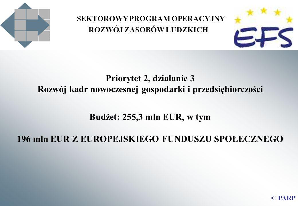 SEKTOROWY PROGRAM OPERACYJNY ROZWÓJ ZASOBÓW LUDZKICH Priorytet 2, działanie 3 Rozwój kadr nowoczesnej gospodarki i przedsiębiorczości Budżet: 255,3 mln EUR, w tym 196 mln EUR Z EUROPEJSKIEGO FUNDUSZU SPOŁECZNEGO © PARP