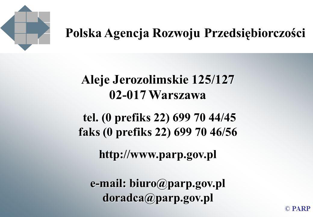 Aleje Jerozolimskie 125/127 02-017 Warszawa tel. (0 prefiks 22) 699 70 44/45 faks (0 prefiks 22) 699 70 46/56 http://www.parp.gov.pl e-mail: biuro@par