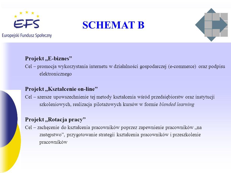 SCHEMAT B Projekt E-biznes Cel – promocja wykorzystania internetu w działalności gospodarczej (e-commerce) oraz podpisu elektronicznego Projekt Kształcenie on-line Cel – szersze upowszechnienie tej metody kształcenia wśród przedsiębiorstw oraz instytucji szkoleniowych, realizacja pilotażowych kursów w formie blended learning Projekt Rotacja pracy Cel – zachęcenie do kształcenia pracowników poprzez zapewnienie pracowników na zastępstwo, przygotowanie strategii kształcenia pracowników i przeszkolenie pracowników