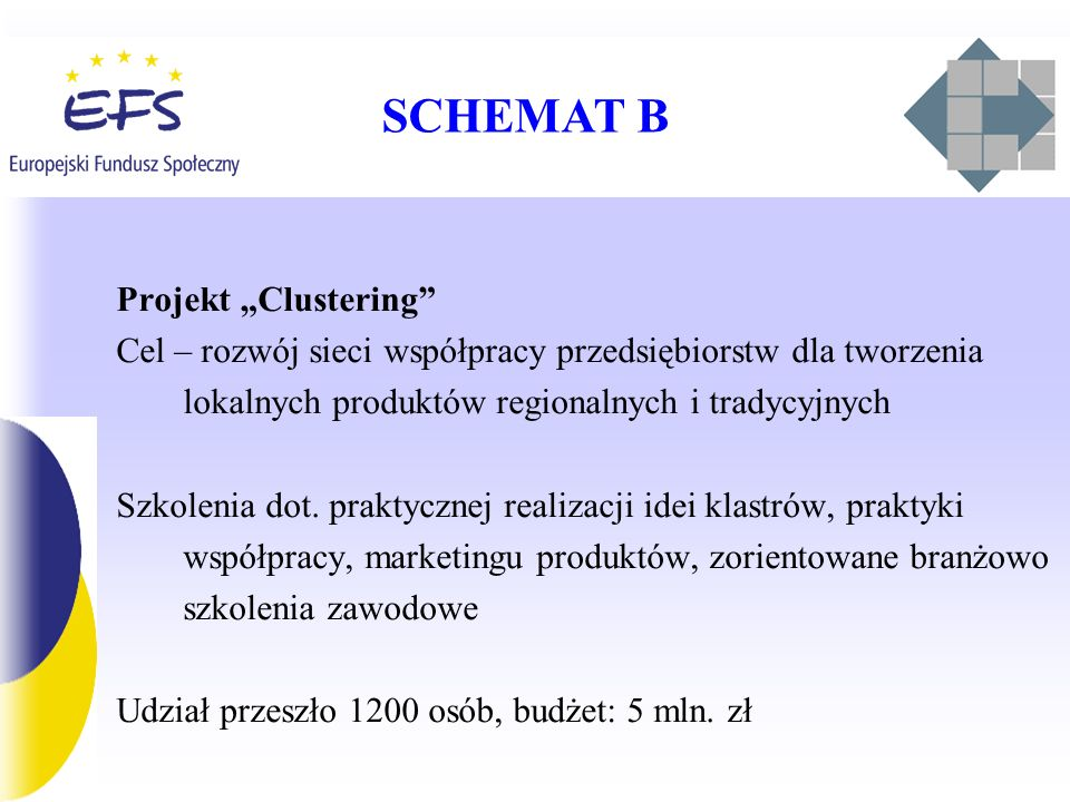 SCHEMAT B Projekt Clustering Cel – rozwój sieci współpracy przedsiębiorstw dla tworzenia lokalnych produktów regionalnych i tradycyjnych Szkolenia dot