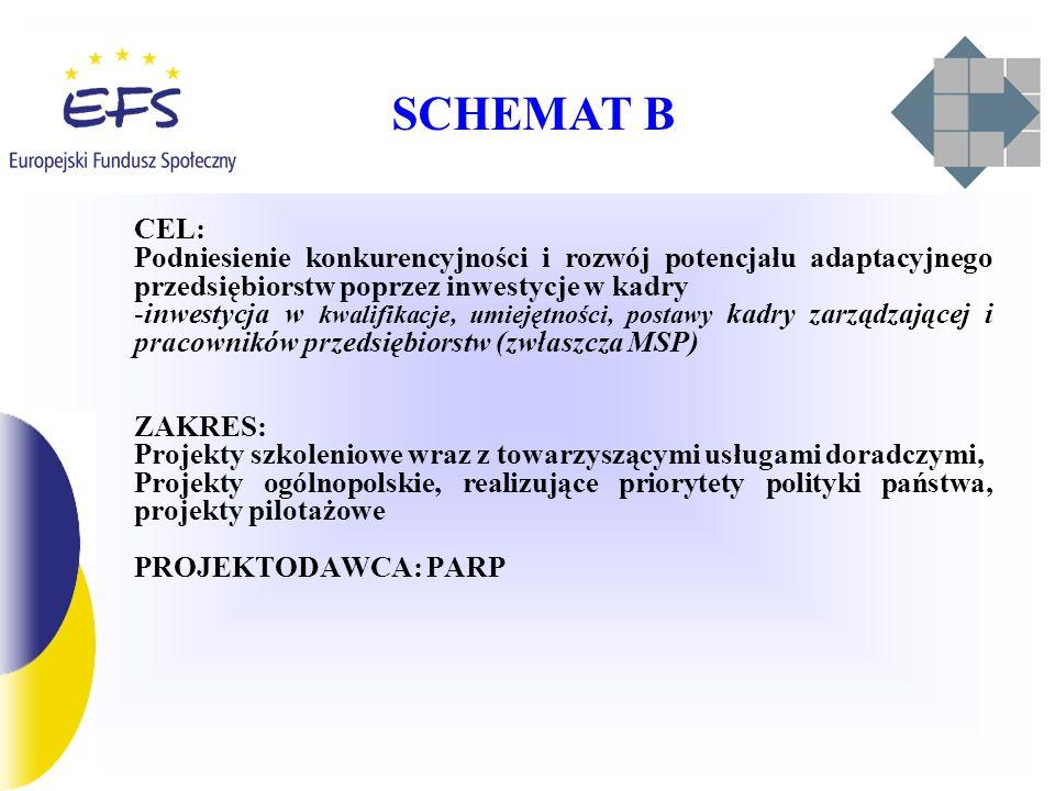 SCHEMAT B CEL: Podniesienie konkurencyjności i rozwój potencjału adaptacyjnego przedsiębiorstw poprzez inwestycje w kadry -inwestycja w kwalifikacje, umiejętności, postawy kadry zarządzającej i pracowników przedsiębiorstw (zwłaszcza MSP) ZAKRES: Projekty szkoleniowe wraz z towarzyszącymi usługami doradczymi, Projekty ogólnopolskie, realizujące priorytety polityki państwa, projekty pilotażowe PROJEKTODAWCA: PARP