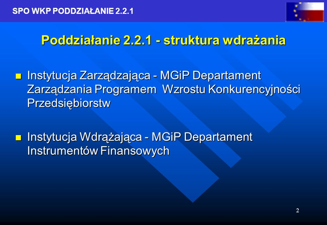 SPO WKP PODDZIAŁANIE 2.2.1 2 Poddziałanie 2.2.1 - struktura wdrażania Instytucja Zarządzająca - MGiP Departament Zarządzania Programem Wzrostu Konkurencyjności Przedsiębiorstw Instytucja Zarządzająca - MGiP Departament Zarządzania Programem Wzrostu Konkurencyjności Przedsiębiorstw Instytucja Wdrążająca - MGiP Departament Instrumentów Finansowych Instytucja Wdrążająca - MGiP Departament Instrumentów Finansowych
